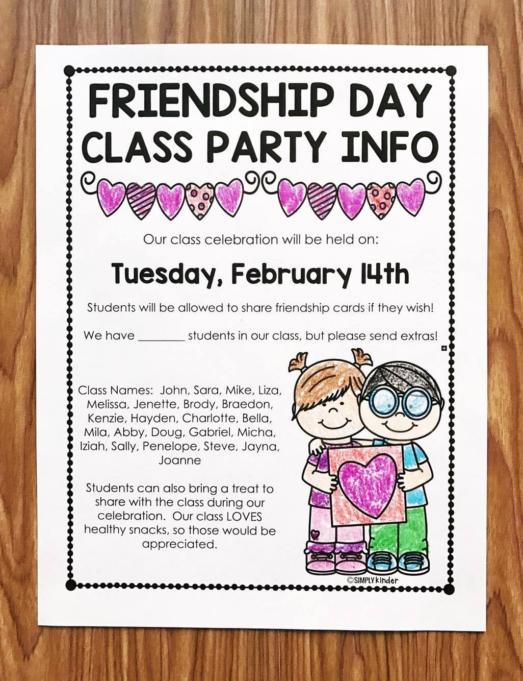 Free valentines day letter kindergarten friendship and parents free valentines day letter stopboris Image collections