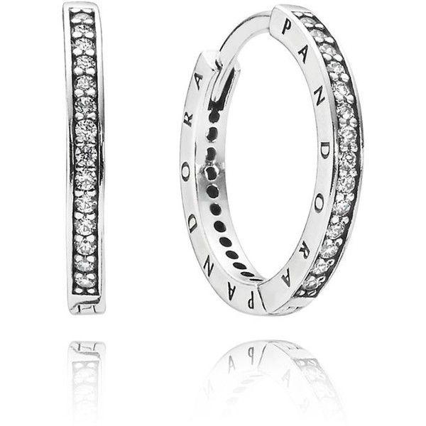 Pandora Hoop Earrings: PANDORA Sterling Silver Pave Hoops With Engraved Logos