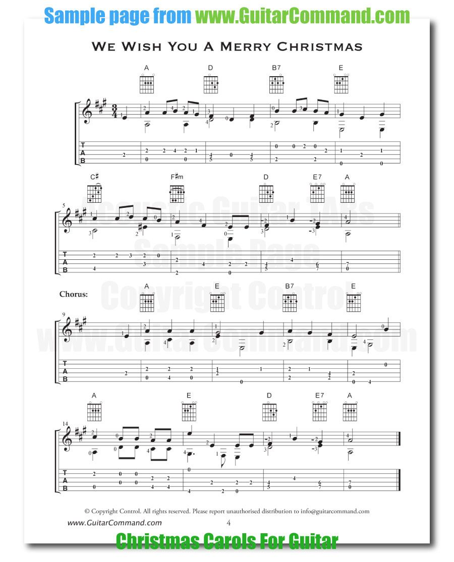Acoustic Guitar Tabs We Wish You A Merry Christmas Guitar Tabs Acoustic Guitar Notes Guitar Tabs