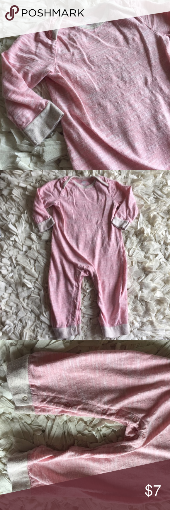 Light pink bodysuit Super cute light pink bodysuit with white space dye design. Collar and cuffs are a light tan. I loved this little suit. It's perfect to lounge around the house in but cute enough to run to the grocery store in and it's so easy to throw on! Button snaps on legs. Old Navy One Pieces Bodysuits