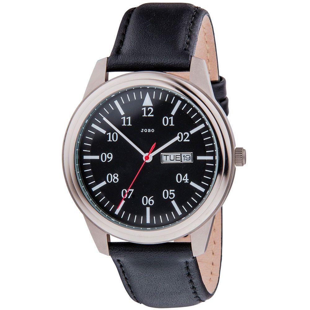 Armbanduhr Jobo Herren Analog Herrenuhr Titan Quarz Leder Datum RSjc35AL4q