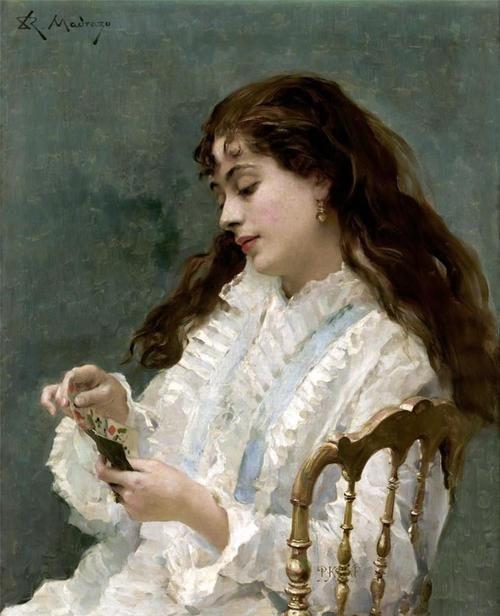 """Aline playing cards"" by Raimundo de Madrazo y Garreta (1841-1920)."