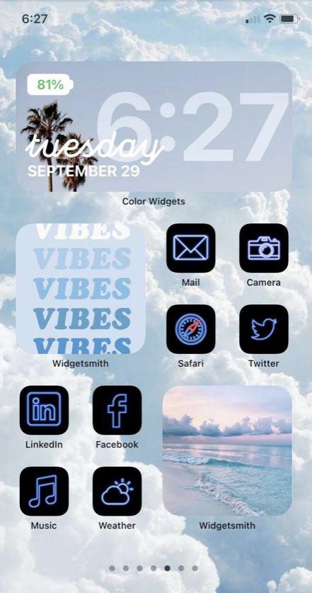 Blue iOS 14 App Icon Pack  Neon Aesthetic iOS 14 I