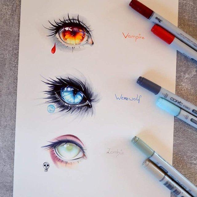 anime wolf eye drawing: Which Dark Creature Is Your Favorite? Vampire Werewolf