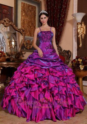 131f1ba43 Discount Purple and Fuchsia Quinceanera Dress Straps Satin Embroidery with  Beading Ball Gown