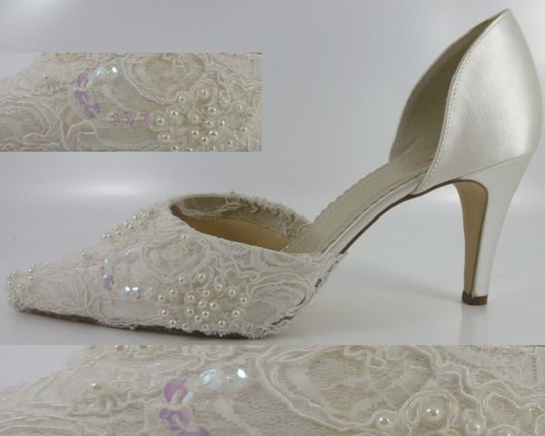 Ivory Lace Shoes Pearl Beaded Vintage Bridal Wedding