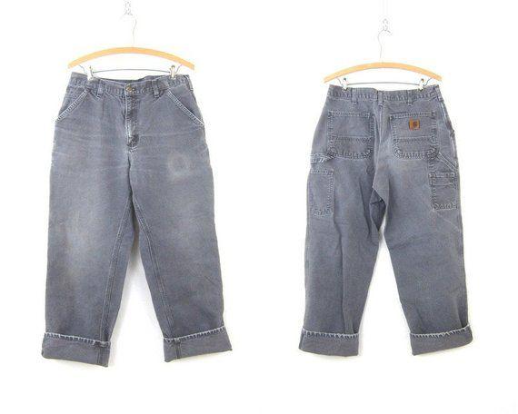 1901fd5b10e Distressed Gray Jeans Vintage Carhartt Jeans Faded Denim Carpenter Work  Pants Farmer Workwear Engine