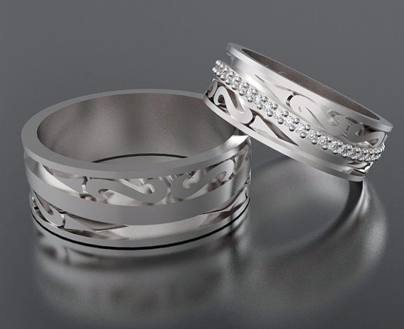 Wedding Band Ring His And Hers 14k Diamond Set Comfort Fit Matching Rings Unique Custom Luxury