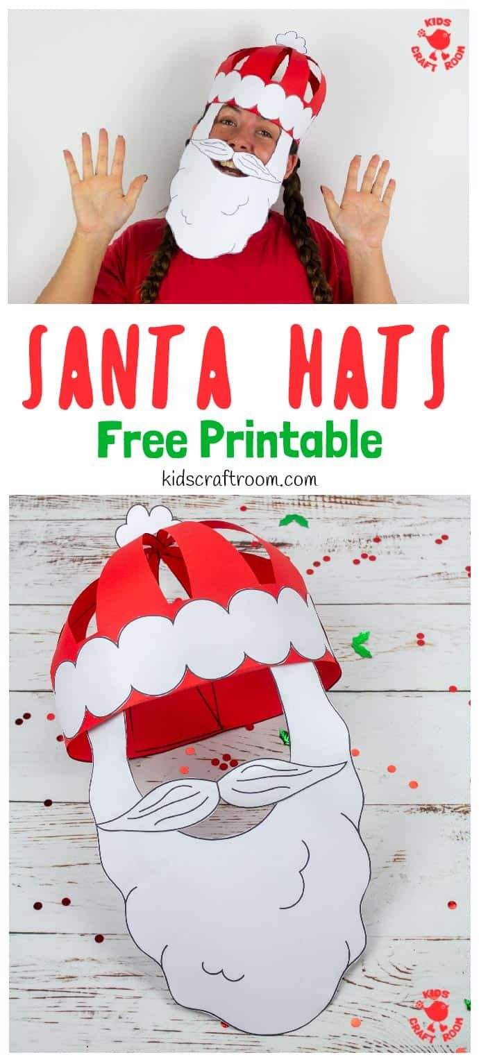 Get festivewith this fun Christmas craft! Make and wear a cute 3D Paper Santa Hat! This Christmas hat idea is great for fun loving kids and grown-ups! (Free Printable Santa Hat Craft Template) #kidscraftroom #kidscrafts #santa #santahat #papercrafts #christmascrafts #printablecrafts #santacrafts #freeprintables #christmashats