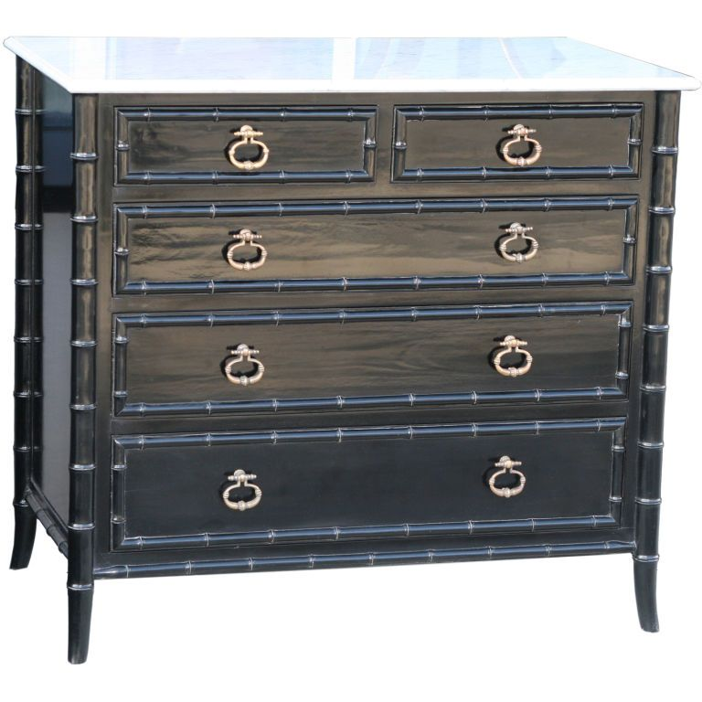 Black laquer stunner. Faux bamboo dresser with cast bronze drop pulls and  white marble top