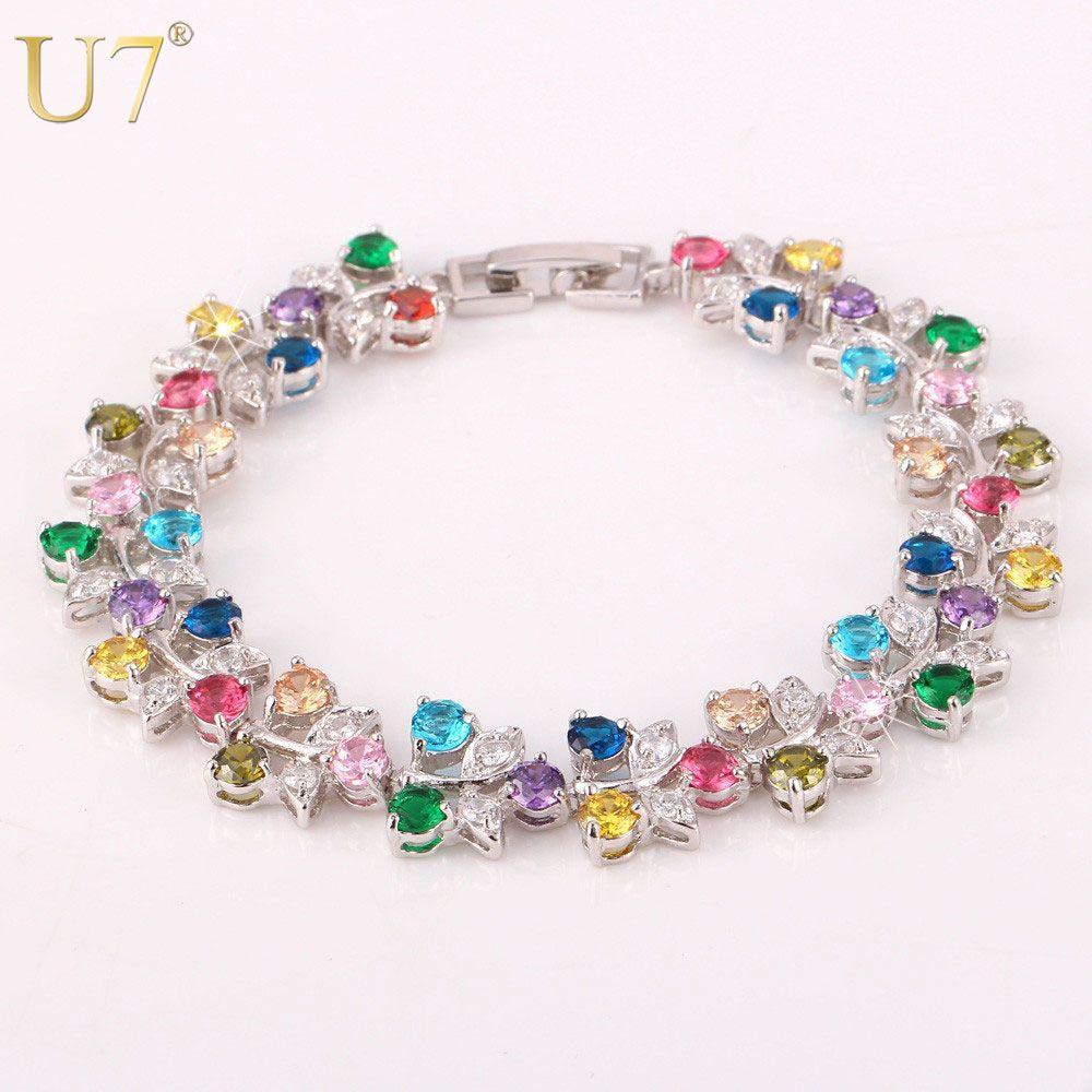 U luxury goldsilver color colorful aaa zirconia jewelry wholesale