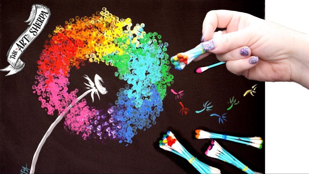 Easy Rainbow Dandelion Q Tip Acrylic Painting for ...
