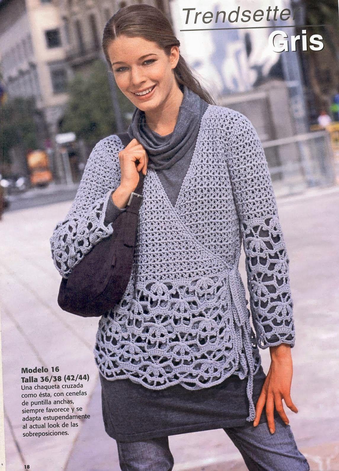 Patrones Crochet: Chaqueta Tejida Cruzada Patron | Crochet Cardigans ...