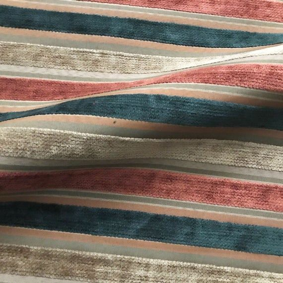 Multicolored Mod Stripe Velvet Upholstery Fabric 54 #velvetupholsteryfabric