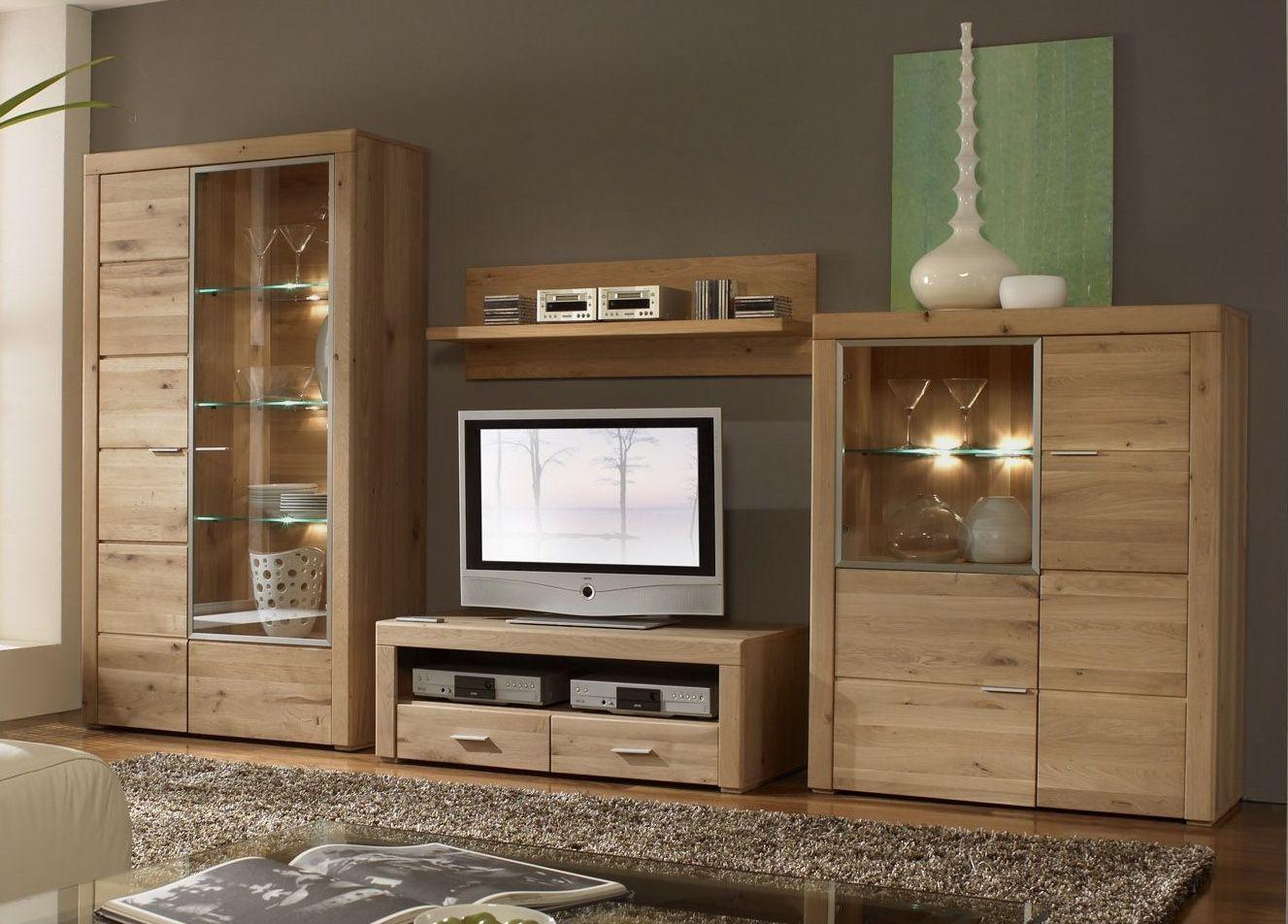 etna wohnwand 4 tlg anbauwand eiche massiv ge lt wohnen m bel g nstig kaufen wohnzimmer. Black Bedroom Furniture Sets. Home Design Ideas
