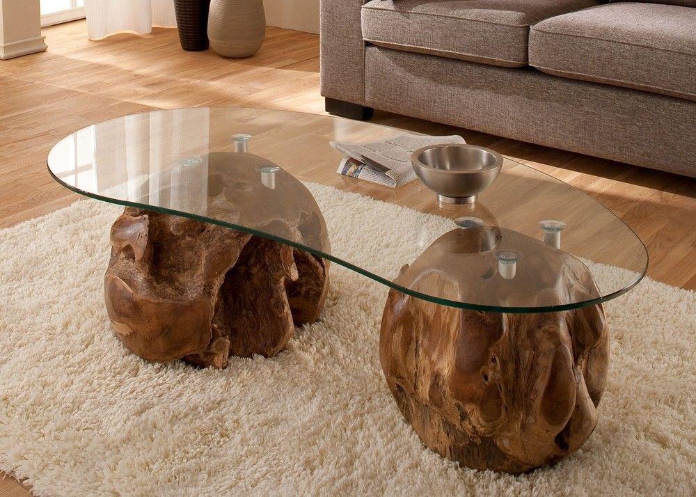 Wohnzimmertisch Glasplatte ~ Couchtisch mit gestell aus teak massivholz mit glasplatte unikat