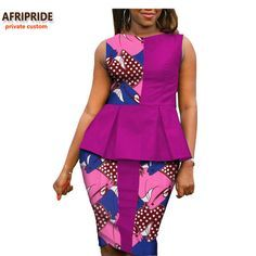 2019 Autumn african women casual suit AFRIPRIDE private custom sleeveless pleated top+knee-length pencil skirt plus size A722614