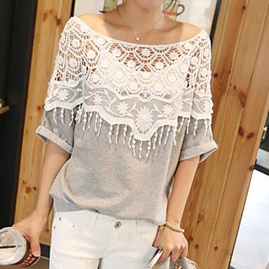 Women Casual Micro-elastic ½ Length Sleeve Regular T-shirt ( Lace/Cotton Blends )– GBP £ 7.69