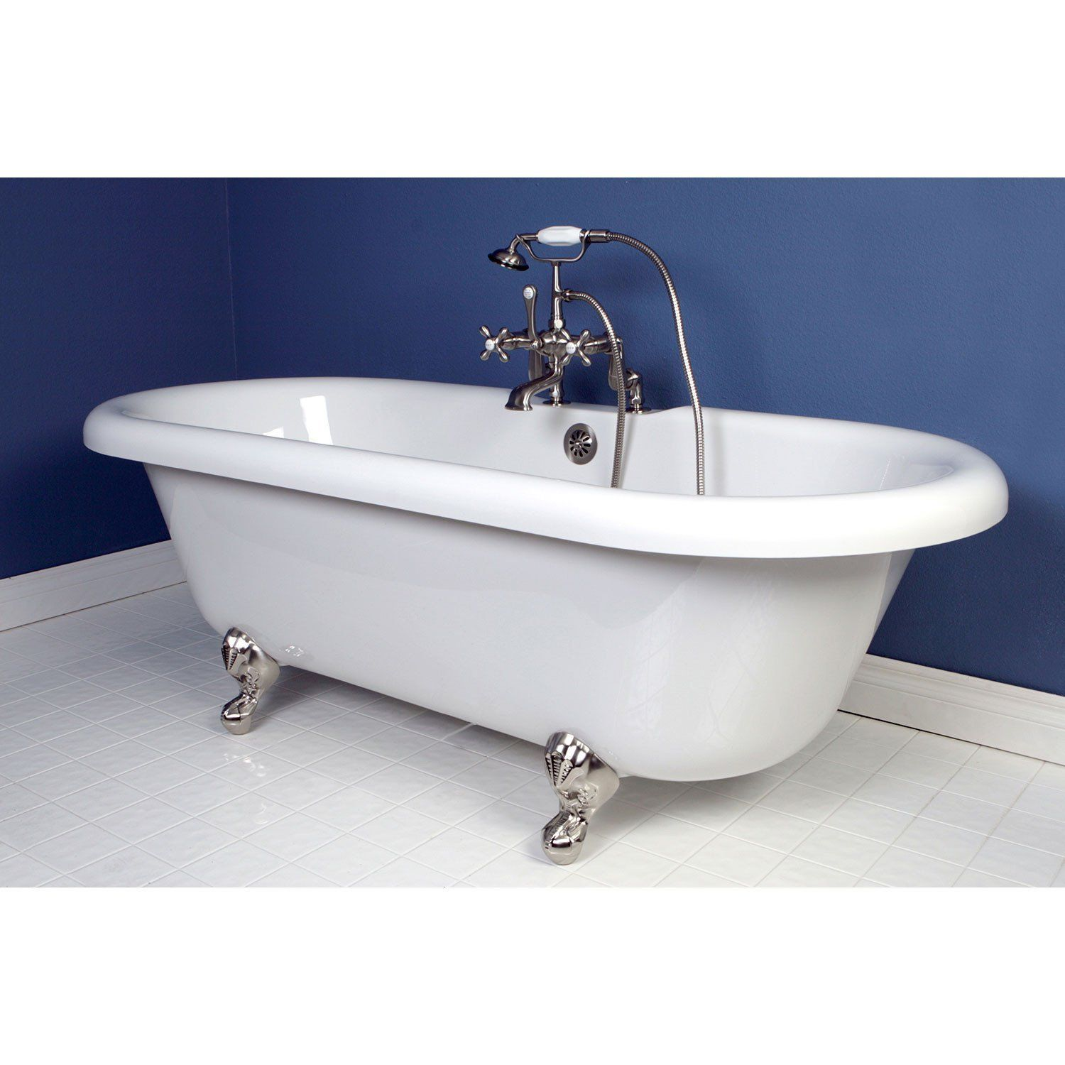 "67"" acrylic clawfoot tub with satin nickel tub faucet & hardware"