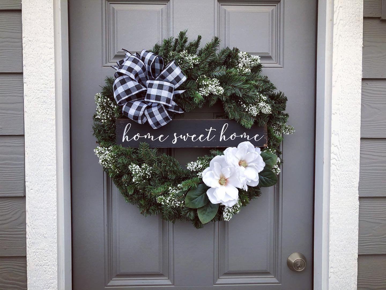 Farmhouse Winter HSH Winter wreath, Grapevine wreath