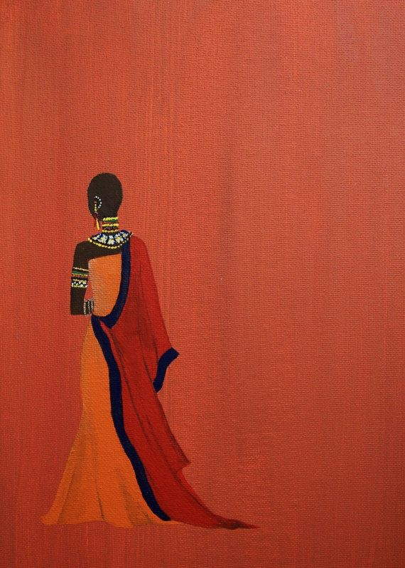 "MASAI WOMAN ART Original Reproduction Print 5x7 Africa Kenya Maasai Orange Red Tangerine - ""Maasai Princess"""