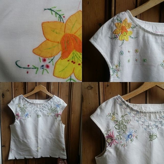 Woman/'s blouse size small made from vintage tablecloth and fabric
