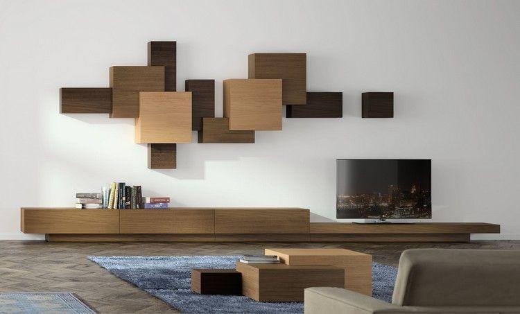 Meuble Tv Mural Modulable En Unites Cubiques Et Meuble Bas En Longueur Wohn Design Mobel Wohnzimmer
