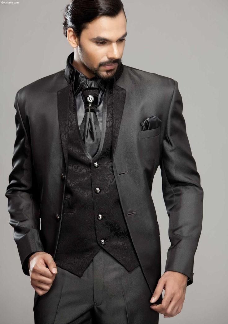 Latest Coat Pant Designs Black Embossed Men Suit Pattern Italian ...