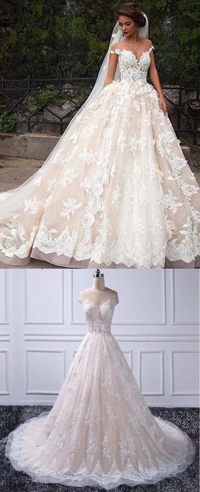 Romantic jewel cap sleeves ball gown wedding dress with lace top