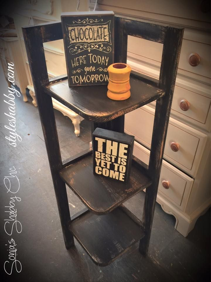 Hand Painted Distressed Corner Shelf In Our Black Velvet Junk Monkey Chalky Paint Always New