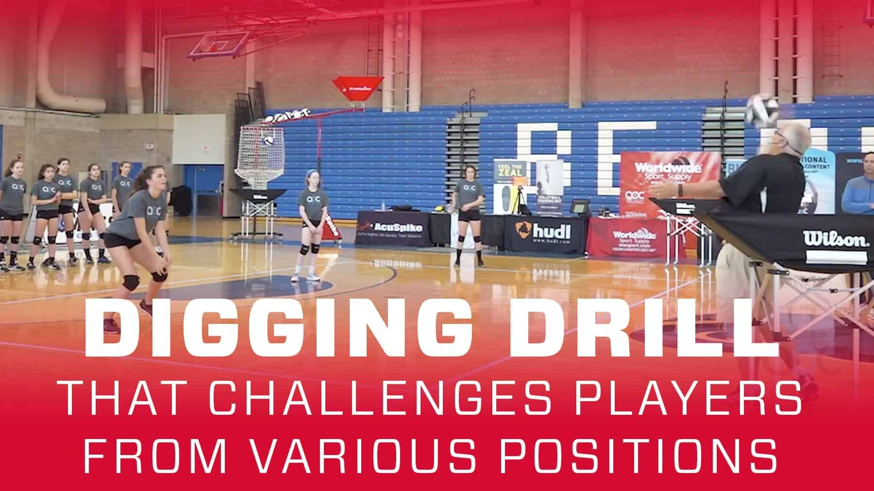 Digging Drill That Challenges Players From Various Positions Coaching Volleyball Volleyball Drills Volleyball