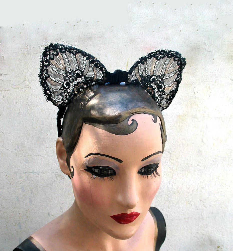 cat ears, lace ears, bat ears, halloween costume, headband, hair