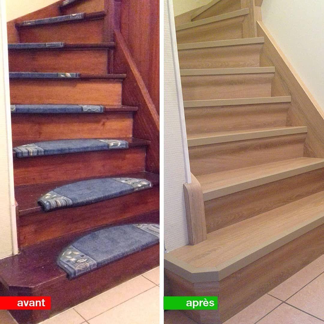 Avant Après Du0027un Escalier Bois 2/4 Tournant Bois. Rénovation #portas Décor  Chêne Royal #M.D.E #menuiseriedelest #menuiserie #gandrange #showroom
