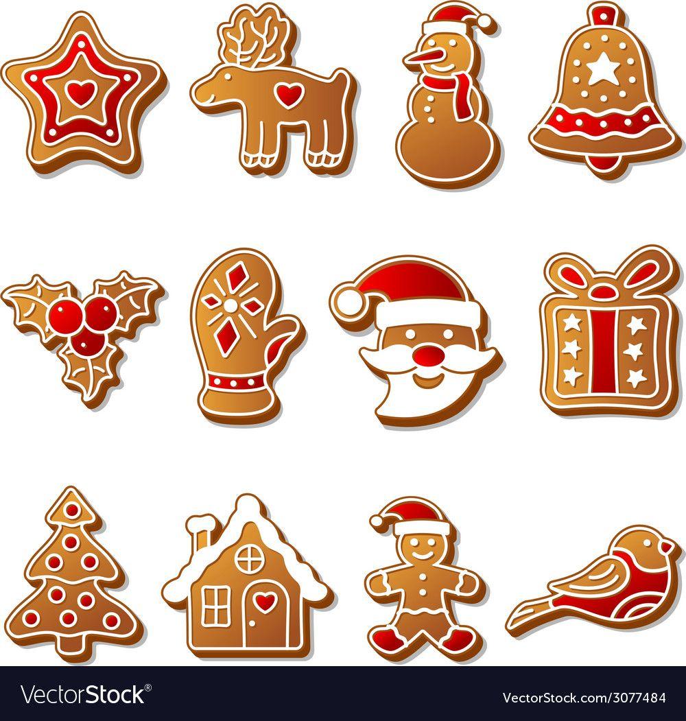 Gingerbread christmas cookies set vector image on (с