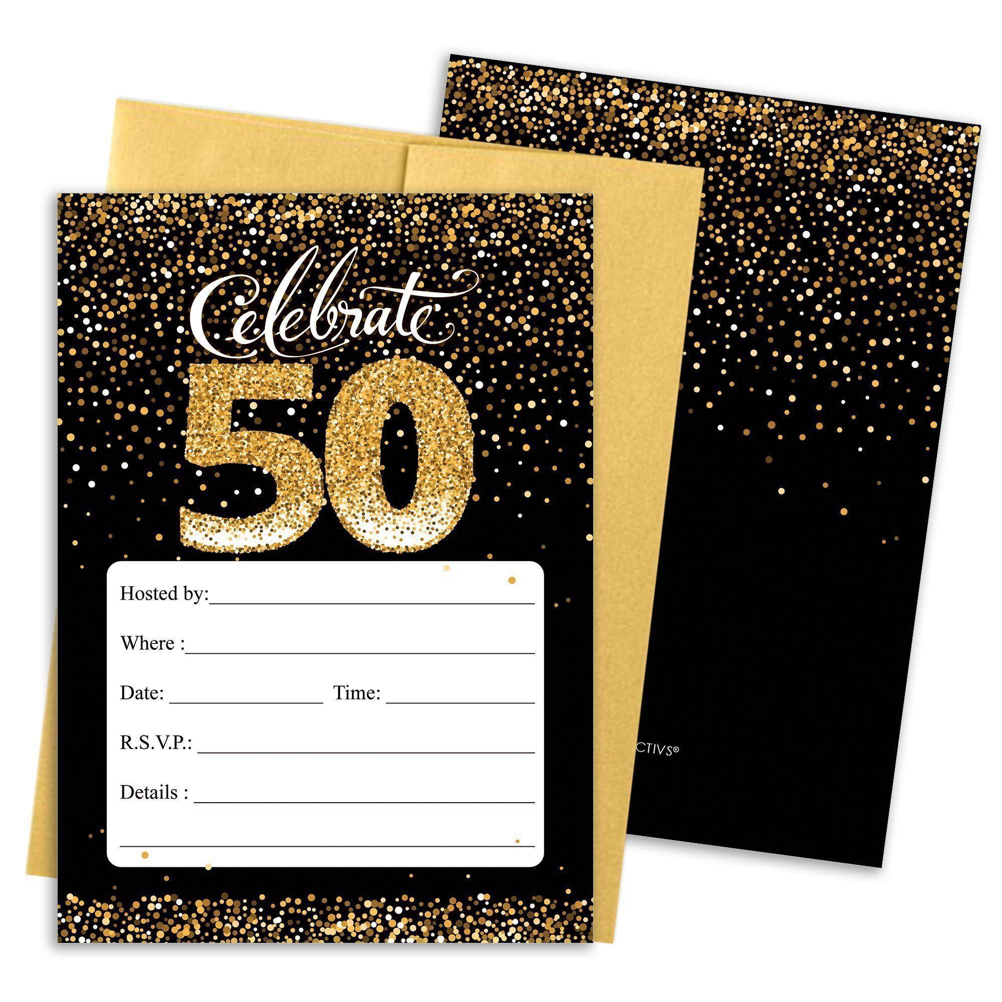 Black and Gold 5th Birthday Party Invitation Cards with Envelopes