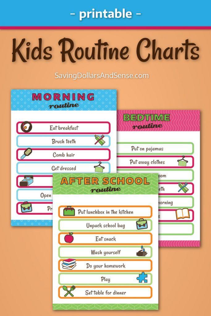 Kids Daily Routine Charts - Saving Dollars and Sense Routine chart