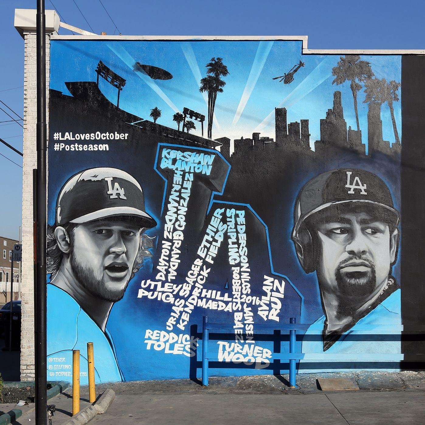 Los angeles dodgers portrait street art mural near dtla