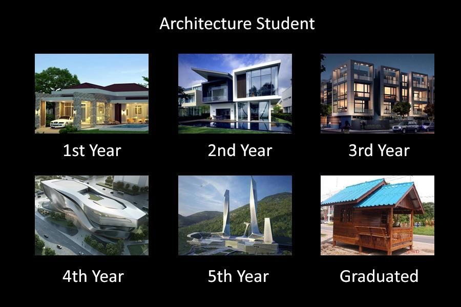 a joke about architecture students from Trust Me, I'm an