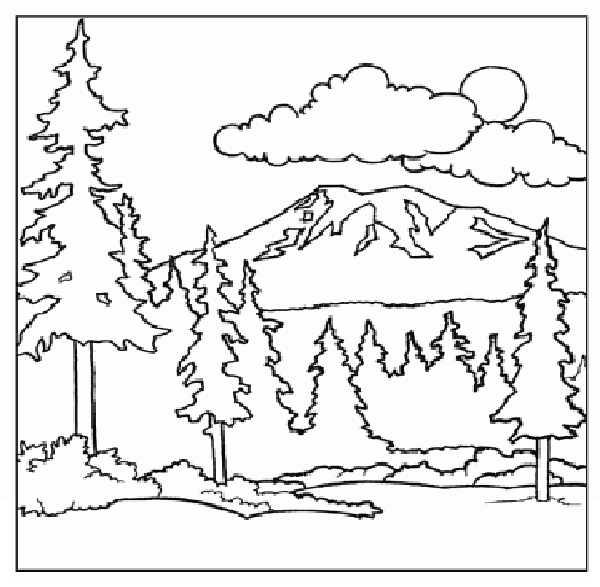 mountain coloring page children coloring pages printable - Mountain Coloring Pages Printable