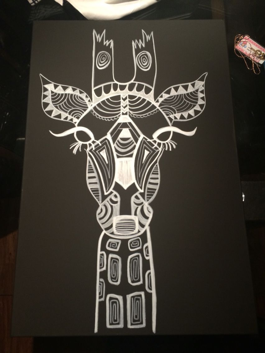 Giraffe Black And White Canvas My Projects Pinterest