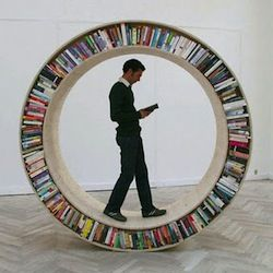 I love these bookshelves, such a cool idea.