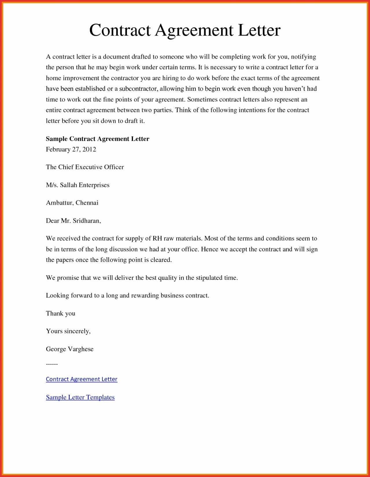 Agreement In Letter format Fresh How to Draft A Contract Letter