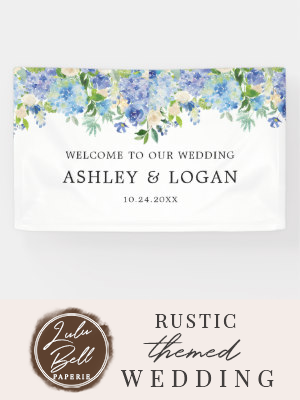 Hydrangea Watercolor Floral Wedding Welcome Banner