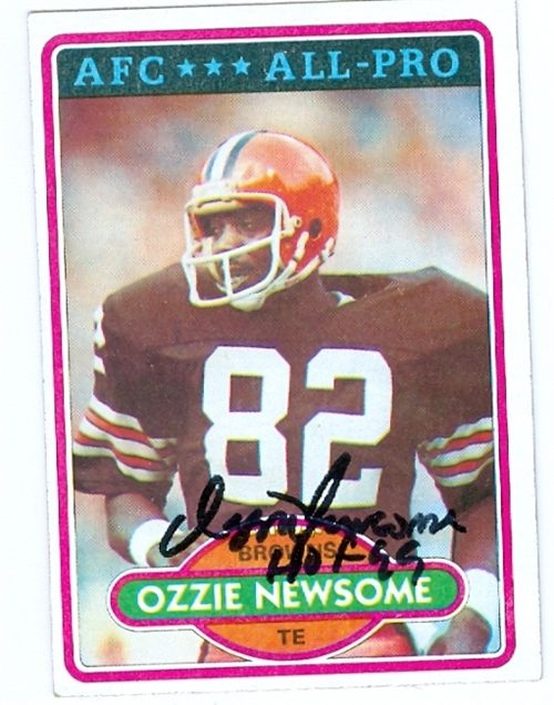 Ozzie Newsome- Hand Signed Football Card- 1980 Topps All Pro #110