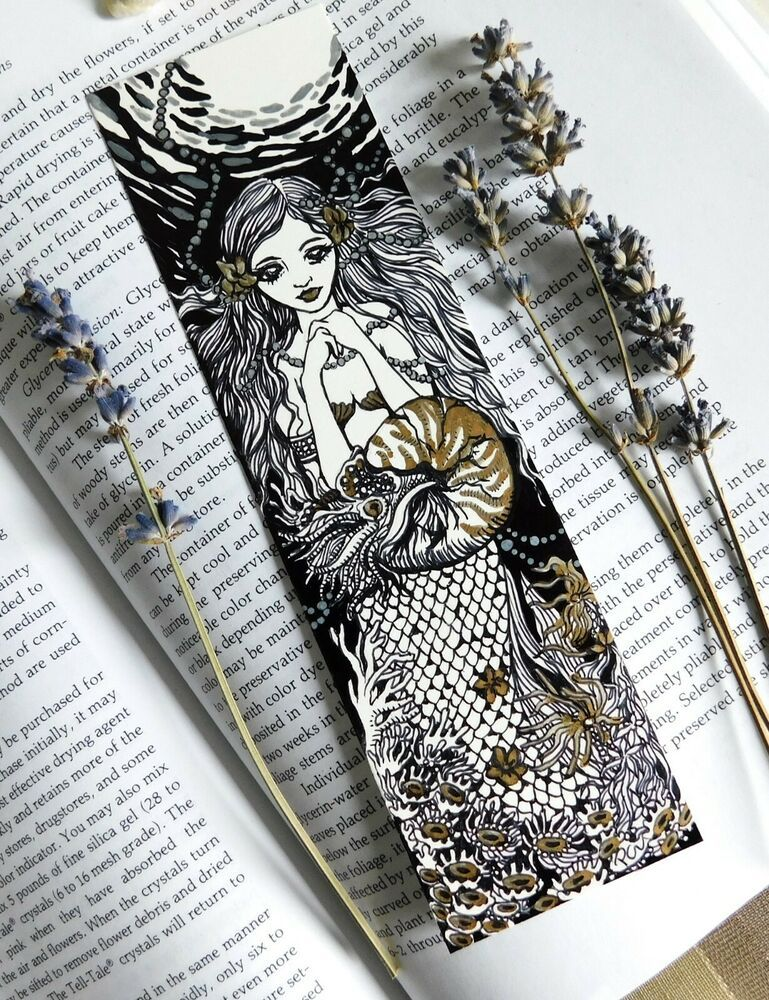 "Original Bookmark Drawing "" Underwater "" Mermaid Fantasy"