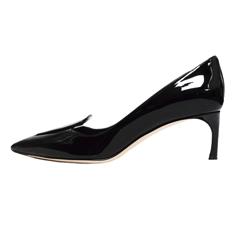 f16a0197dceb Miu Miu Black Patent Leather Clear PVC Cutout Pointed Toe Kitten Heel