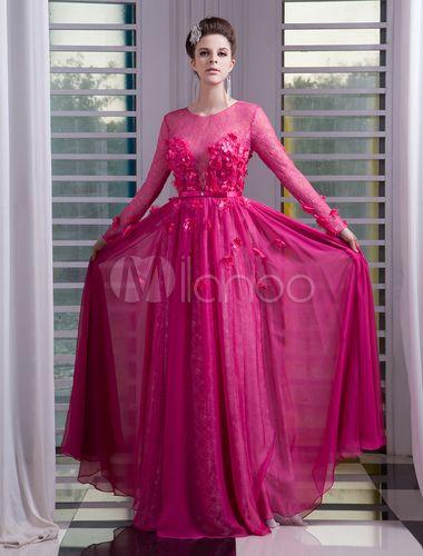 8c4d6e5b0 Vestido de noche Rosa caliente con manga larga con escote redondo ...