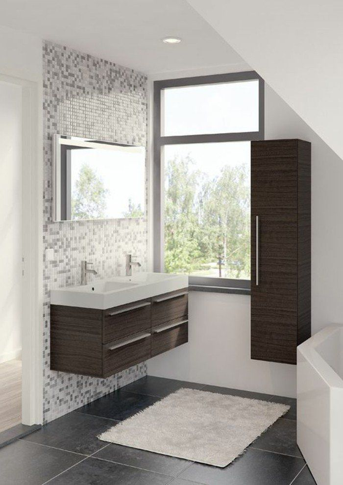 Awesome Salle De Bain Sol Gris Fonce Photos - House Design ...