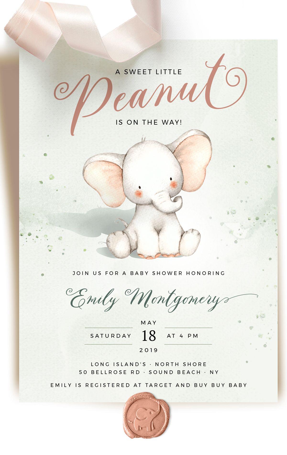 Peanut Elephant Baby Shower Invitation Template Dumbo Baby Party