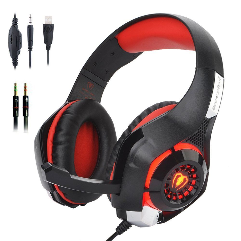 3.5mm Stereo Bass Surround Gaming LED Light Headset for PS4 New Xbox One PC Mic